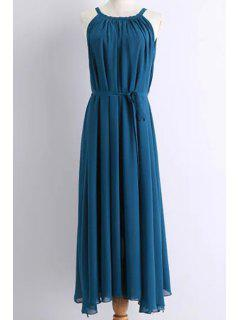 Solid Color Round Collar Belted Maxi Dress - Medium Blue M