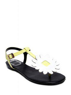 Flower T-Strap Flat Heel Sandals - Yellow 39