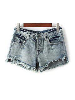 Denim Bleach Wash Ripped Shorts - Light Blue S