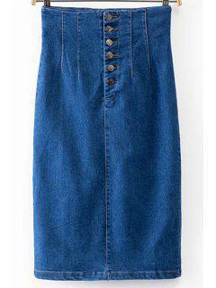 Fitted Packet Buttock High Wasit Denim Skirt - Deep Blue S