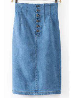 Aménagée Packet Fesses Haute Wasit Denim Jupe - Bleu Léger  S