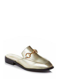 Metal Solid Color Flat Heel Sandals - Golden 39