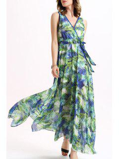 Tropical Print Chiffon Flowing Dress - M