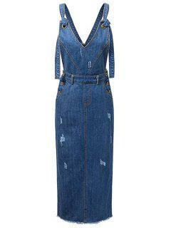 Ripped Belted Bretelles Sans Manches Denim Dress - Bleu S