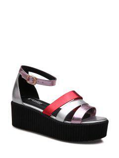 Color Block Ankle Strap Platform Sandals - Pink 39