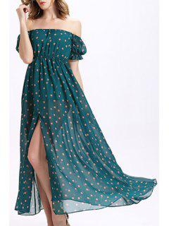 Off-The-Shoulder Chiffon Prom Dress - Green M