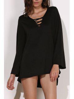 V-Neck Long Sleeve Black Dress - Black M