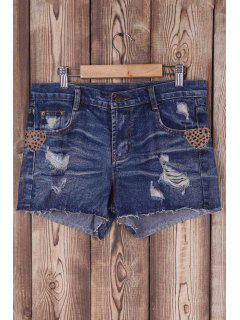 Ripped Bleach Wash Mid-Waist Denim Shorts - Blue M