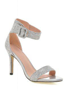 Sequined Ankle Strap Stiletto Heel Sandals - Silver 39