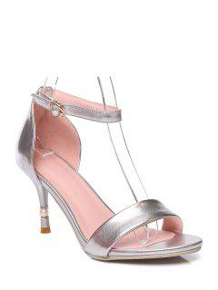 Ankle Strap Solid Color Stiletto Heel Sandals - Silver 39