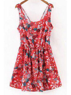 Floral Print Cut Out Encolure Dégagée Robe Sans Manches - Rouge S