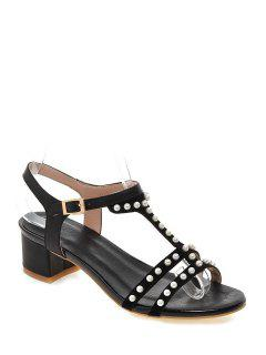 Beading T-Strap Chunky Heel Sandals - Black 39