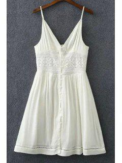 Lace Splicing Solid Color Cami Sleeveless Dress - White S