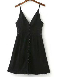 Lace Splicing Solid Color Cami Sleeveless Dress - Black S