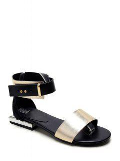 Metallic Color Ankle-Wrap Flat Heel Sandals - Golden 39