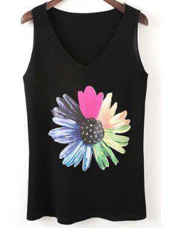 Sunflower Print V-Neck Tank Top - Black