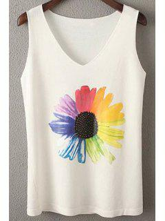 Sunflower Print V-Neck Tank Top - White