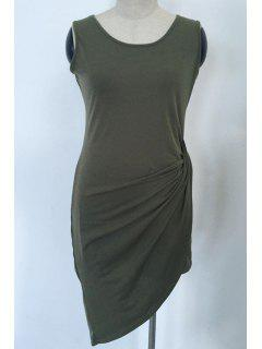 Solid Color Asymmetric Scoop Neck Sleeveless Dress - Army Green M