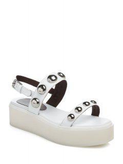 Rivet Solide Couleur Sandales De Plate-forme - Blanc 36