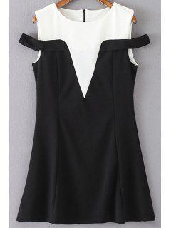 Color Block Round Collar Mini Dress - White And Black S