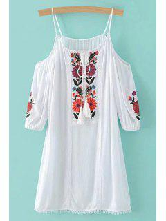 Floral Embroidery Spaghetti Straps 3/4 Sleeve Dress - White S