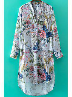 Stand Collar Long Sleeve Floral Print High-Low Hem Dress - White S