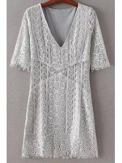 Solid Color Plunging Neck Half Sleeve Lace Dress - Gray S