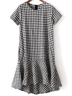 Checked Round Neck Short Sleeve Flounce Dress - Checked M