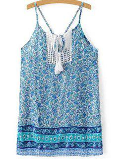 Printed Spaghetti Straps Lace Spliced Mini Dress - Light Blue S