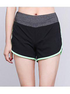 Elastic Waist Slit Sport Shorts - Apple Green M