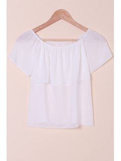 Slash Neck Solid Color Chiffon T-Shirt - White M