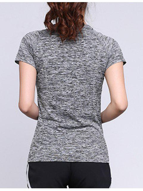 affordable Heathered Breathable Sports T-Shirt - GRAY L Mobile