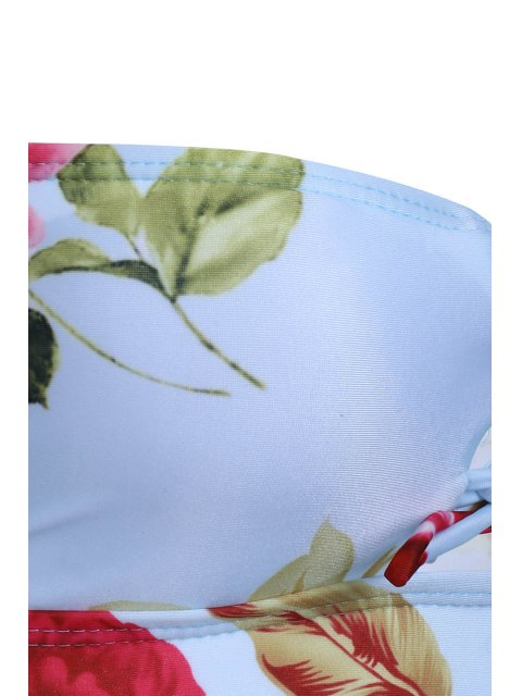 buy Flower Print Cami One-Piece Swimwear - GREEN S Mobile