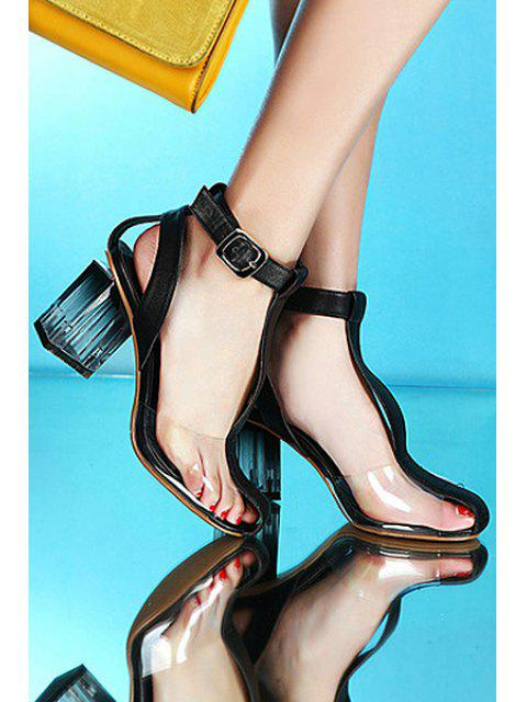ladies Transparent T-Strap Chunky Heel Sandals -   Mobile