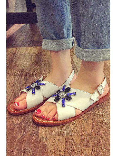 buy Rhinestone Cross-Strap Flat Heel Sandals -   Mobile