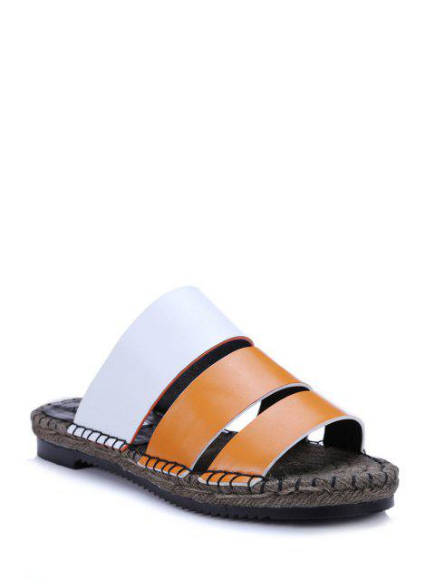 new Color Block Weaving Flat Heel Slippers -   Mobile