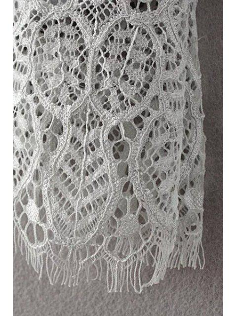 latest Solid Color Plunging Neck Half Sleeve Lace Dress - GRAY M Mobile