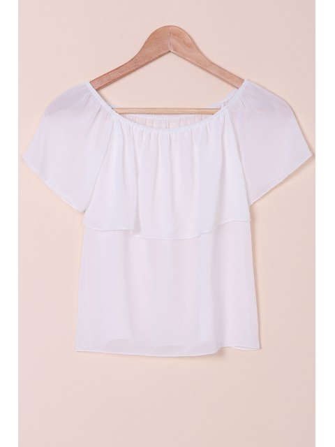 fashion Slash Neck Solid Color Chiffon T-Shirt - WHITE S Mobile