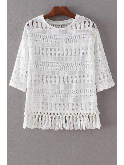 affordable Tassels Spliced 3/4 Sleeve Round Collar Lace T-Shirt - WHITE L Mobile