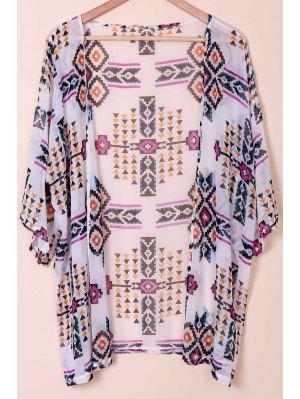 Floral Print Collarless Kimono Blouse - White M