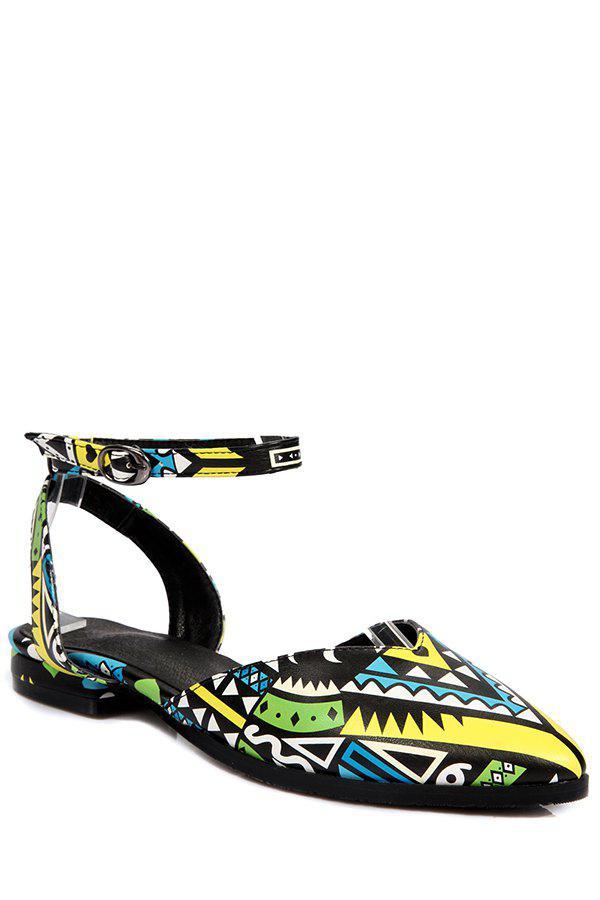 Print Ankle Strap Flat Heel Sandals - YELLOW 38