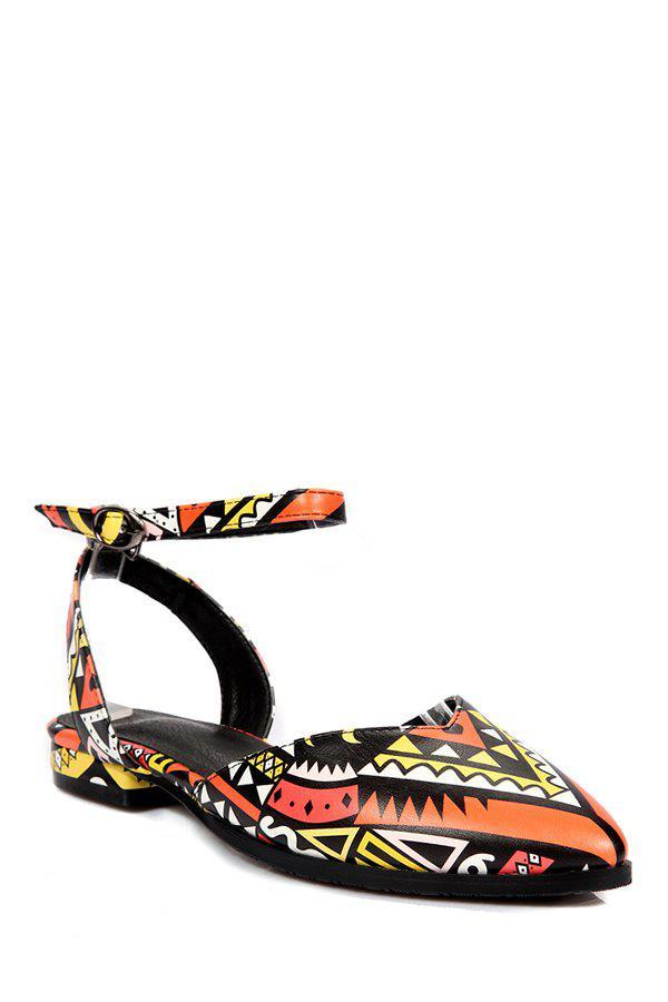 Print Ankle Strap Flat Heel Sandals - ORANGE 38