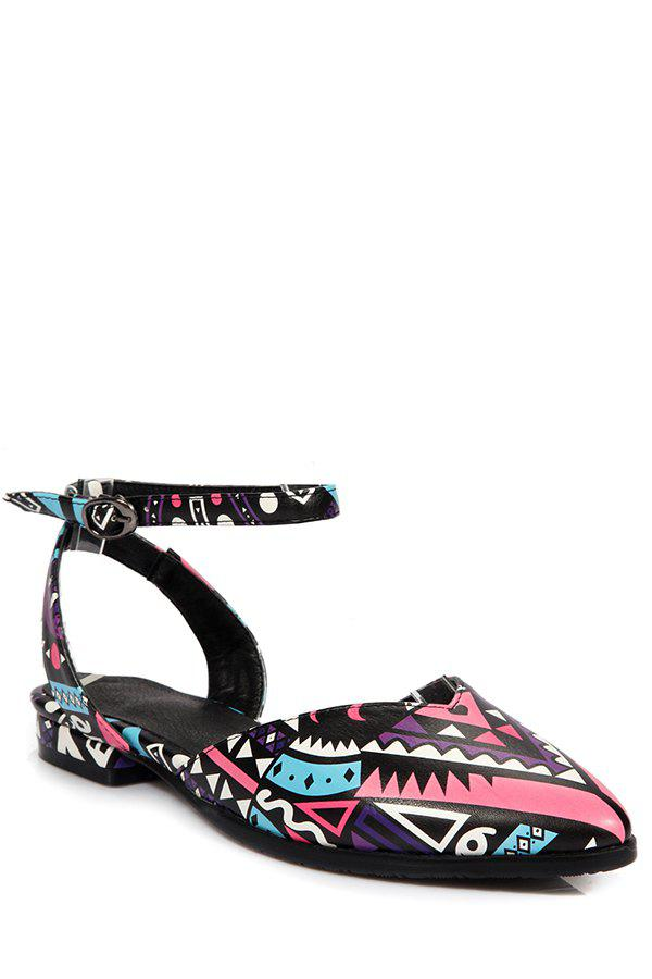 Print Ankle Strap Flat Heel Sandals - PEACH RED 37