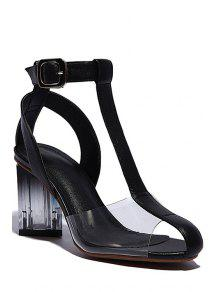 Buy Transparent T-Strap Chunky Heel Sandals - BLACK 38