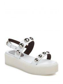 Buy Rivet Solid Color Platform Sandals - WHITE 36