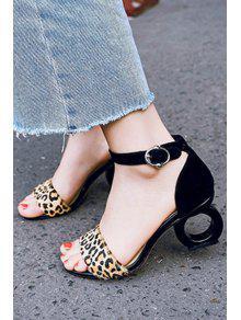 551082a62964 43% OFF] 2019 Leopard Print Ankle Strap Strange Heel Sandals In ...