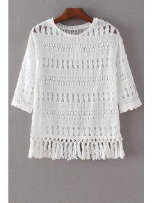 Tassels Spliced 3/4 Sleeve Round Collar Lace T-Shirt - White L