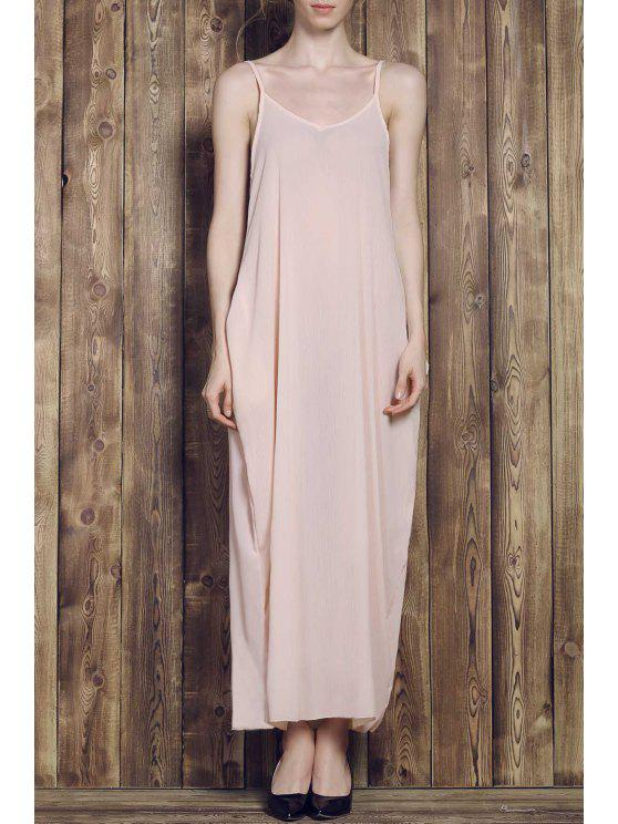 ladies Solid Color Cami Maxi Dress - APRICOT 2XL