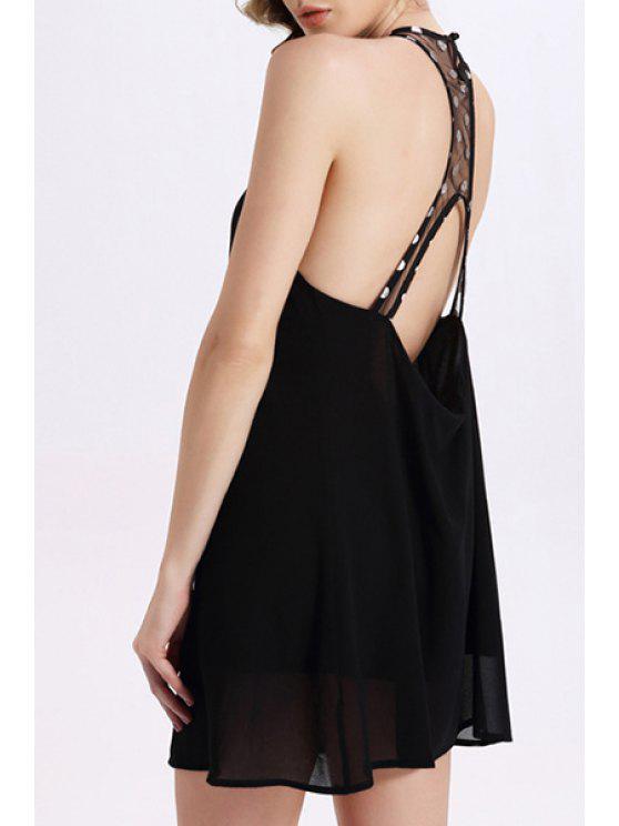 Robe mini col V avec découpes au dos sans manche - Noir M