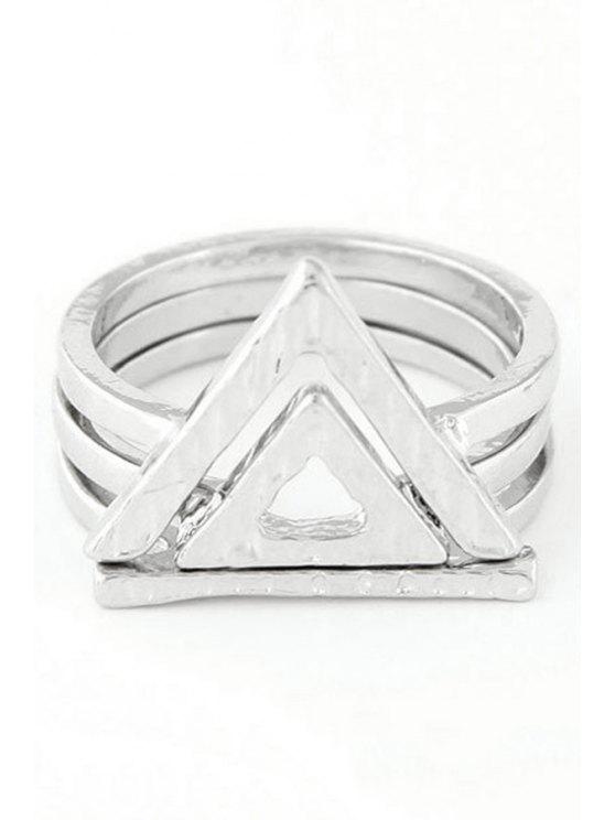 hot Double Hollow Triangle Rings - SILVER ONE-SIZE